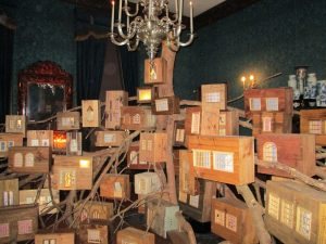 A room filled with boxes of courtier secrets at Kensington Palace