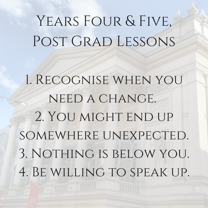 Years Four and Five post grad lessons