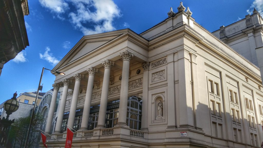 The historic facade of the Royal Opera House in Covent Garden London
