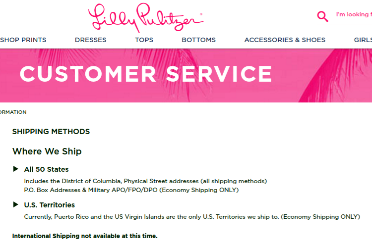 Lilly no intl shipping