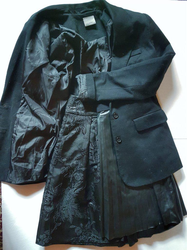 Black Brocade skirt with Black Blazer