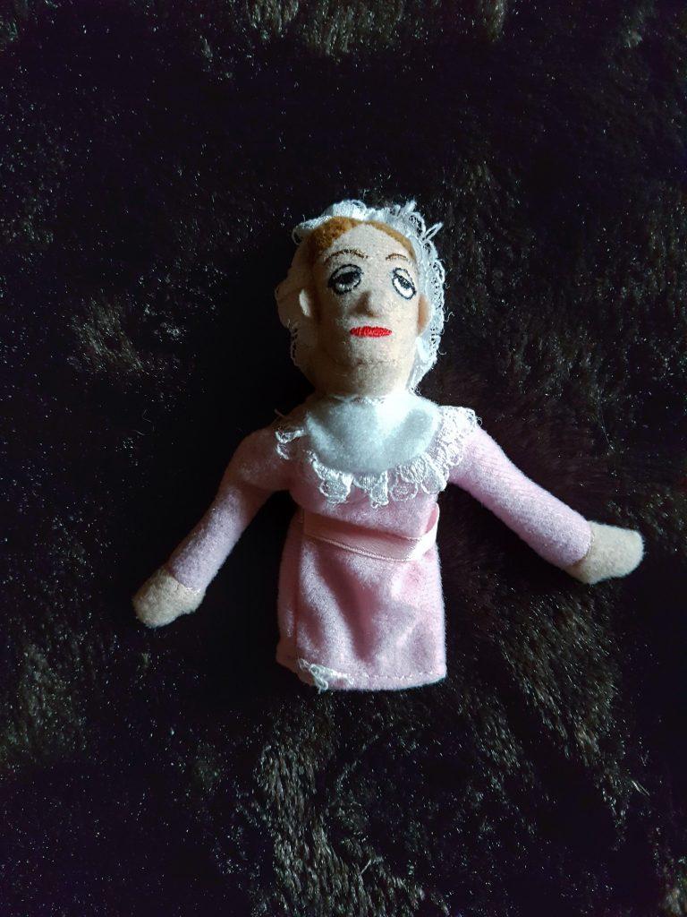 Finger puppet of regency author Jane Austen