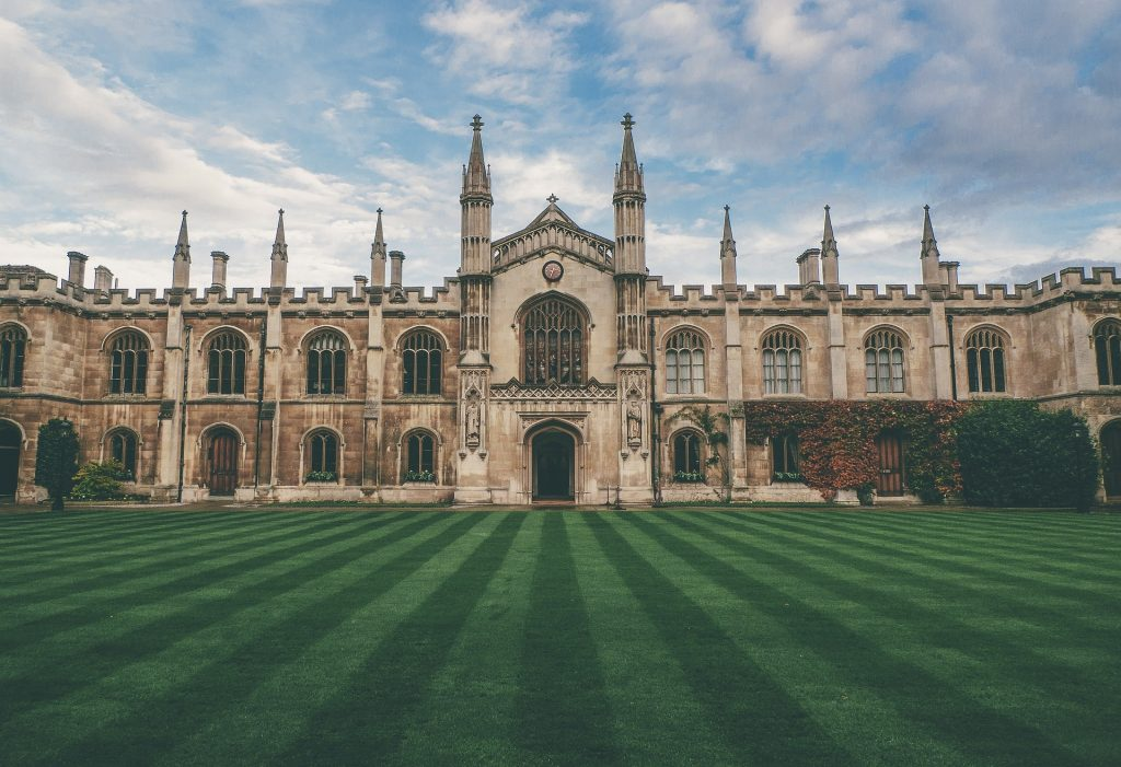 Cambridge University King's College lawn and exterior
