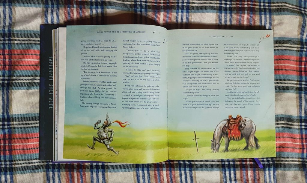 Sir Cadogan running away from his horse in illustrated Harry Potter and the Prisoner of Azkaban