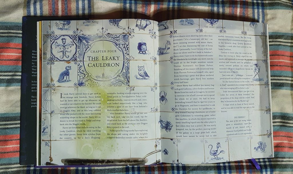 Decorated Leaky Cauldron Title Page in illustrated Harry Potter and the Prisoner of Azkaban