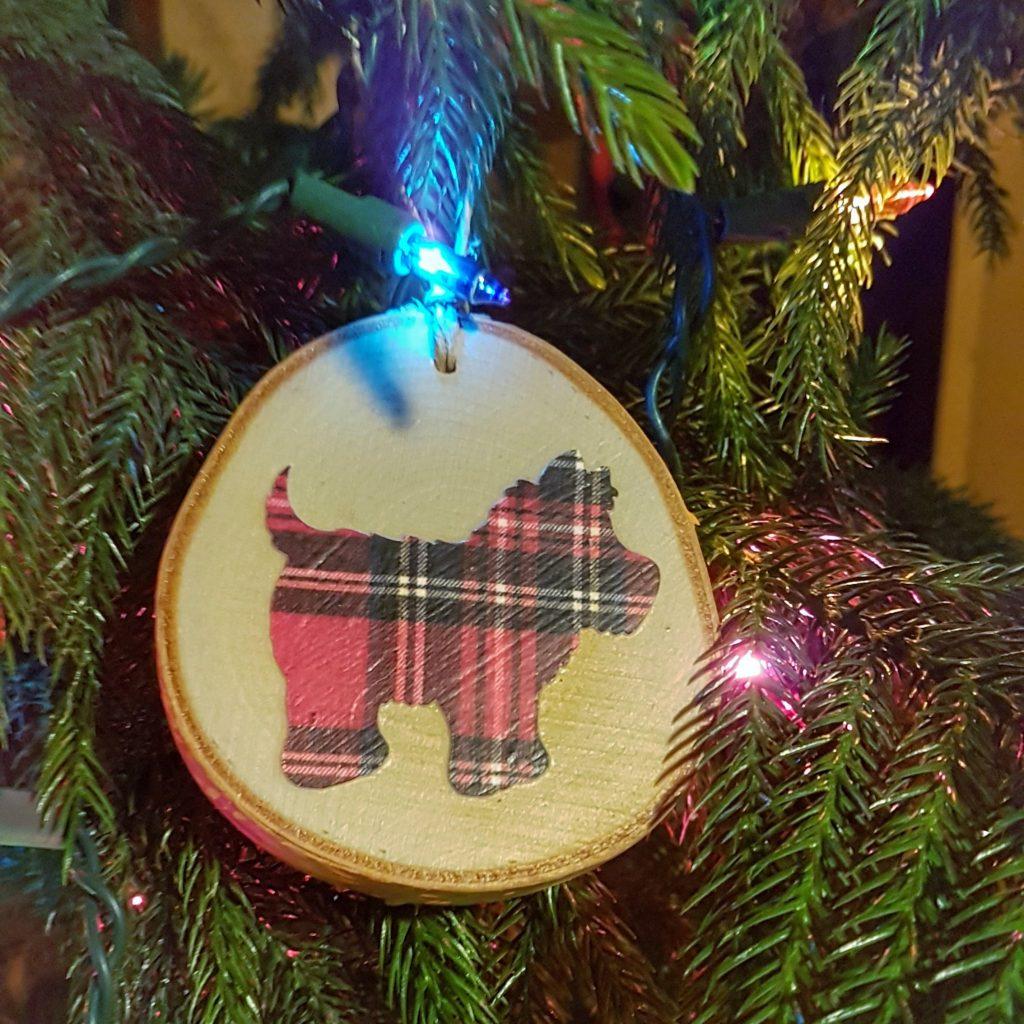 Plaid Westie Ornament