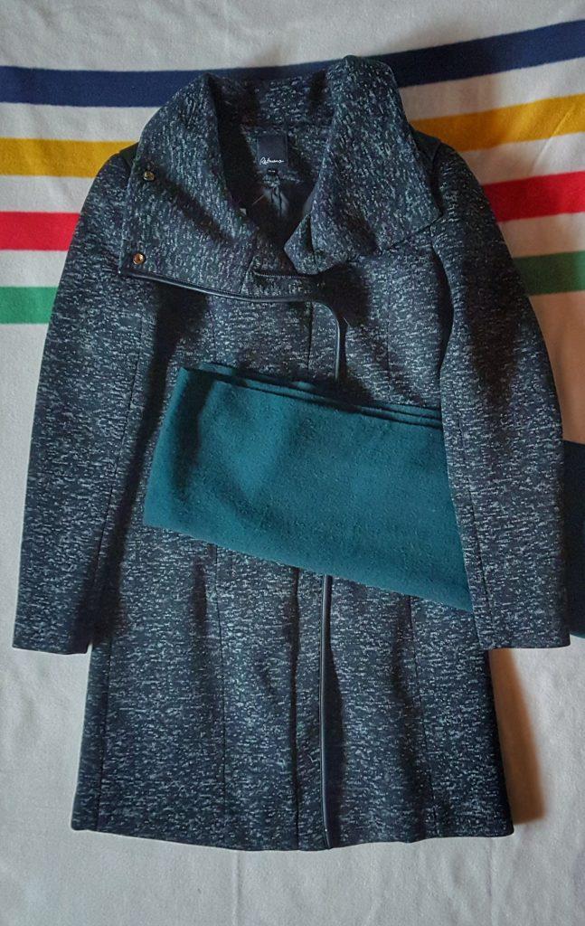 Grey moto coat and wool scarf
